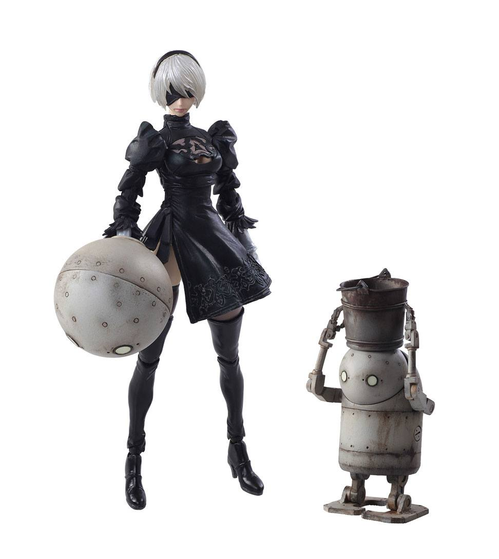 NieR Automata Bring Arts Action Figures 2B & Machine Lifeform 9 - 15 cm
