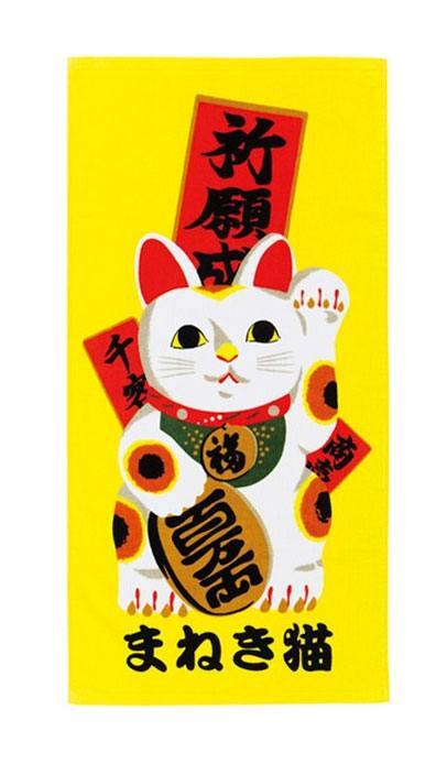 Ukiyo-e Towel Japop Maneki Neko 50 x 100 cm