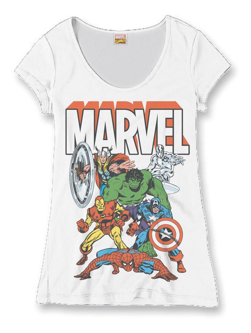 Marvel Comics Ladies T-Shirt Heroes Group Size L