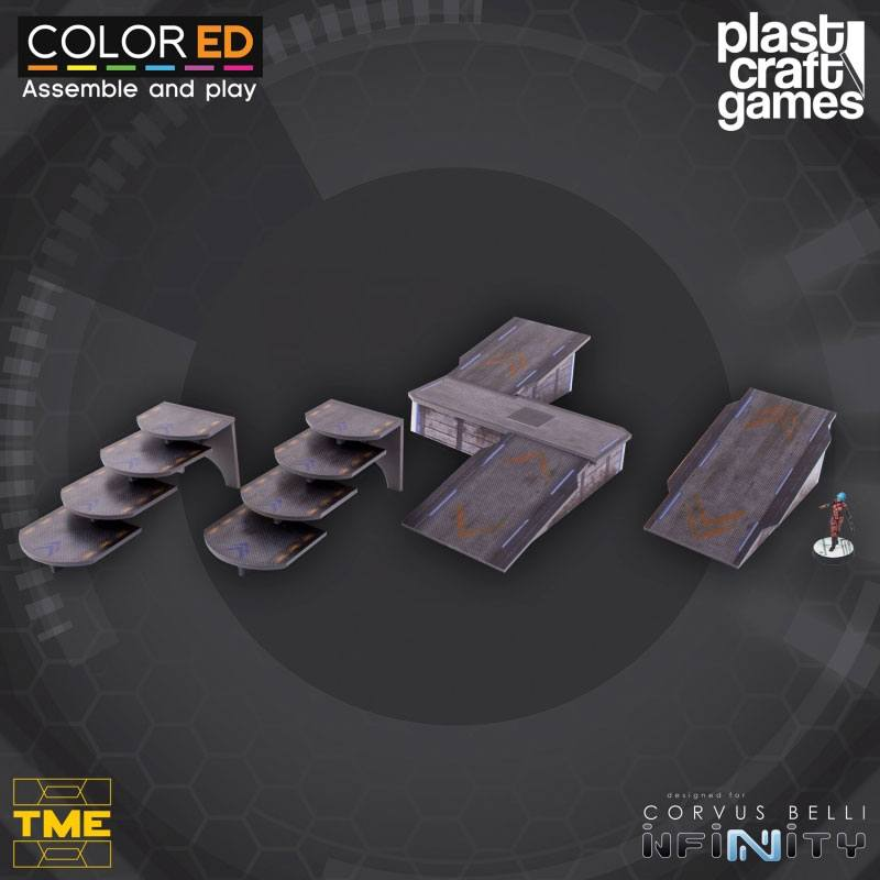 Infinity ColorED Miniature Gaming Model Kit 28 mm Ramps and Stairways Set