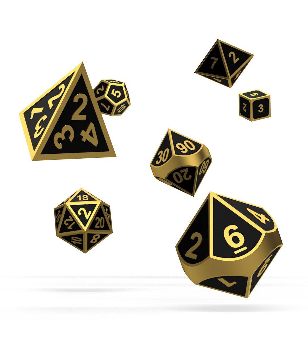 Oakie Doakie Dice RPG Set Metal Dice - Alchemy Gold (7)