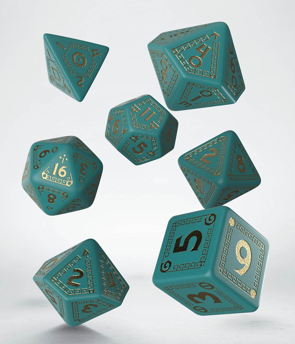 RuneQuest Dice Set turquoise & gold (7)