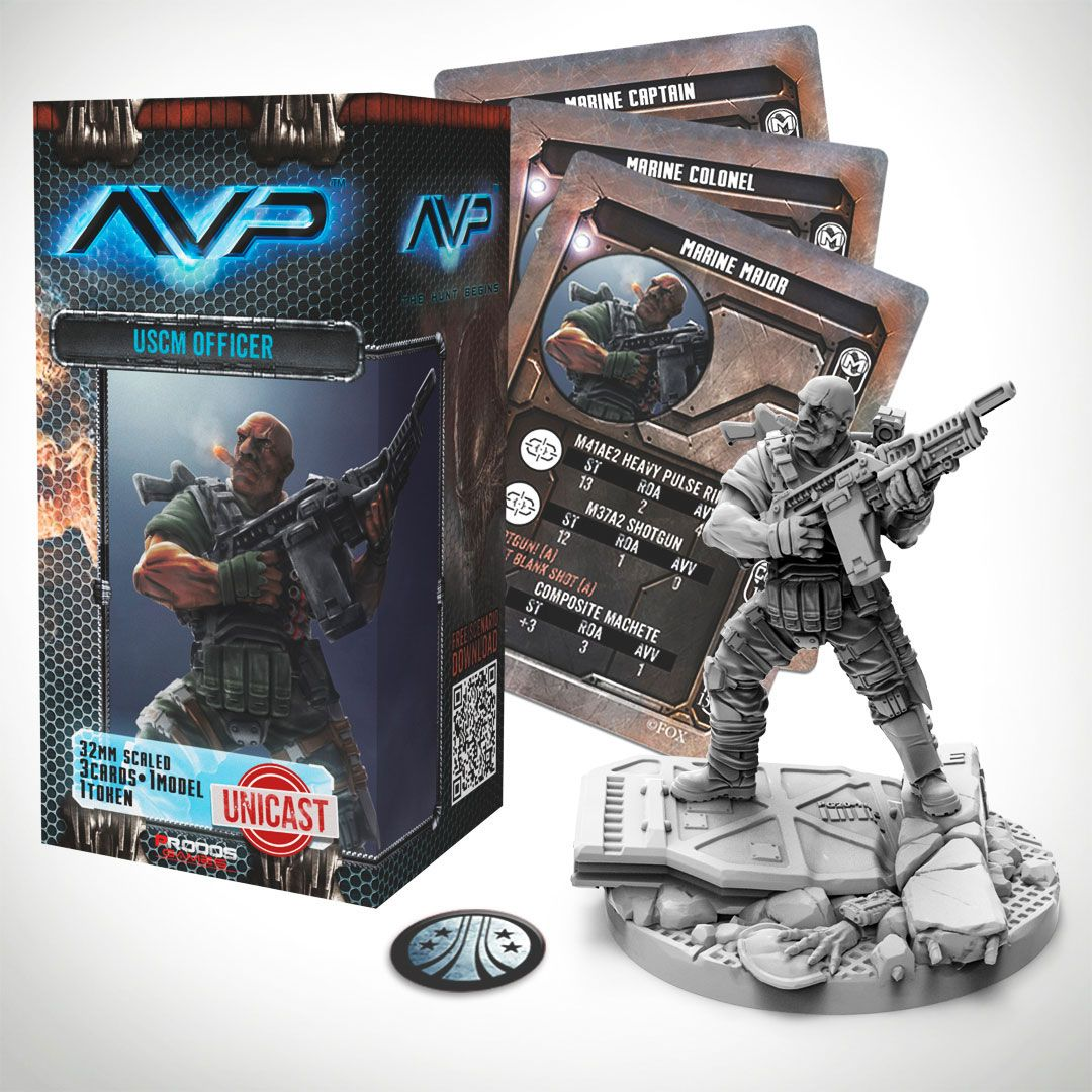 AvP Tabletop Game The Hunt Begins Expansion Pack USCM Officer *German Version*