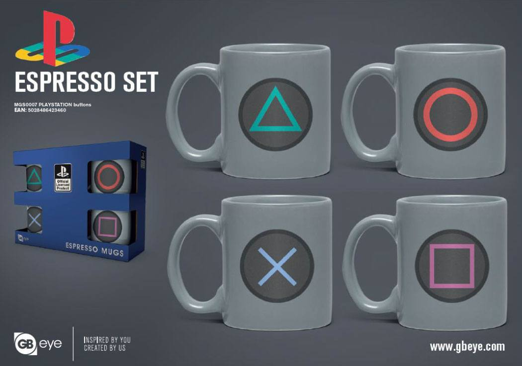 PlayStation Espresso Mugs 4-Pack Buttons