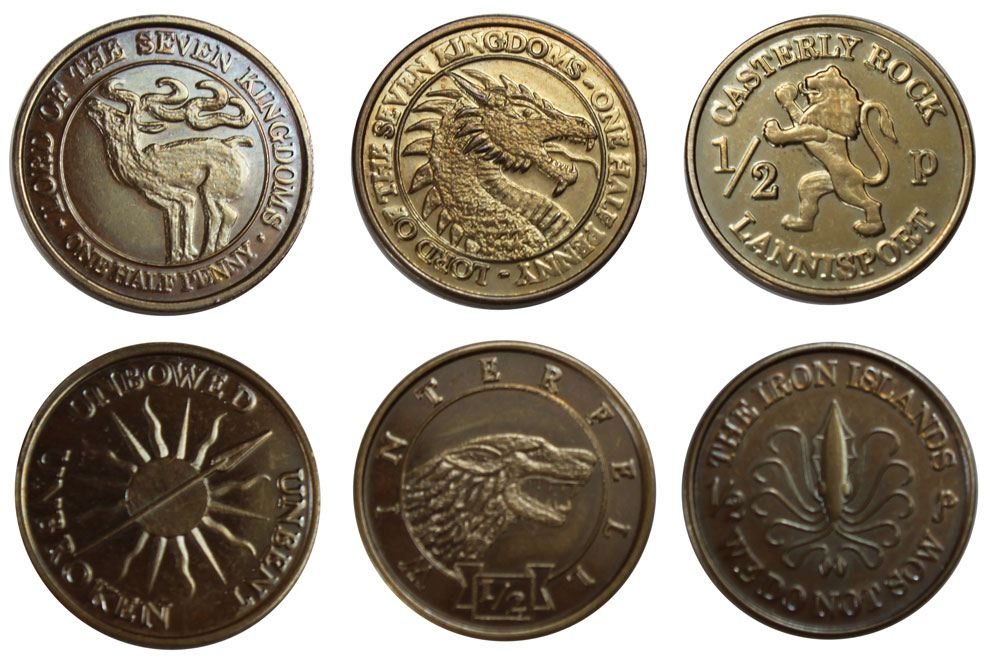 Game of Thrones Coin Set Half-Pennies of 6 Houses