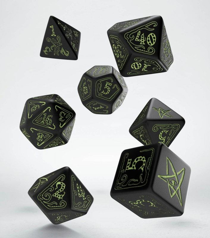 Call of Cthulhu Dice Set black & glow-in-the-dark (7)