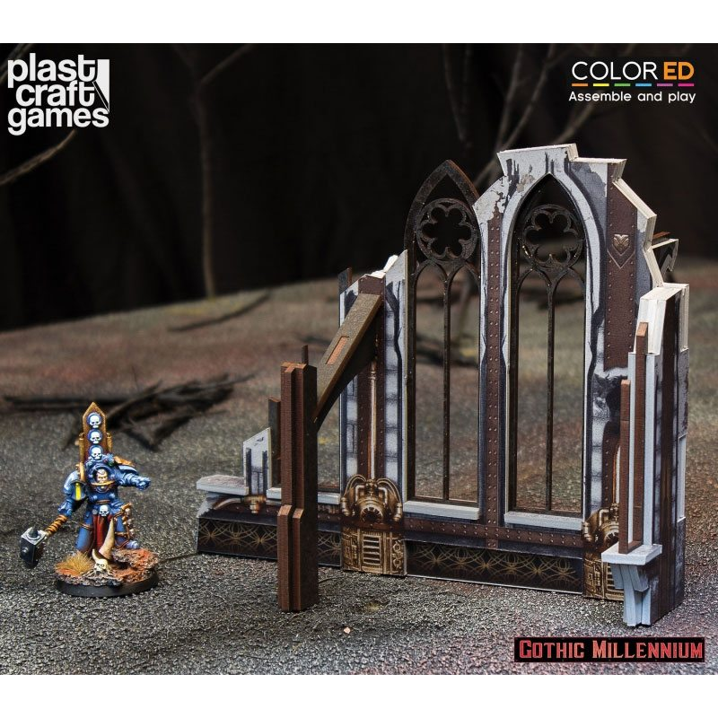 Gothic Millennium ColorED Miniature Gaming Model Kit 28 mm Ruined Side Wall