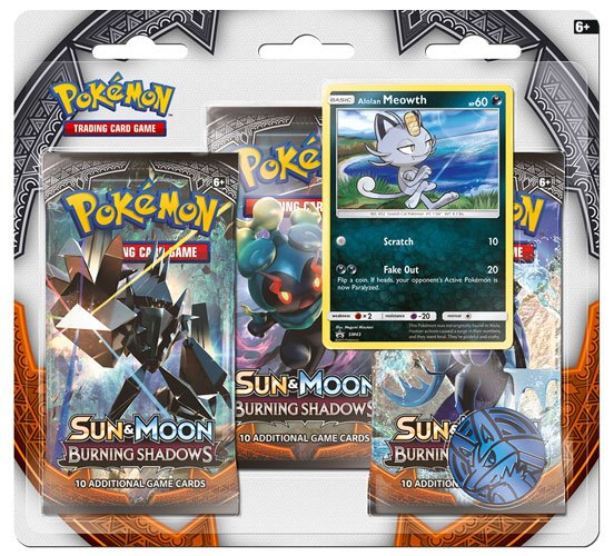 Pokemon Sun and Moon 3 Burning Shadows 3 Pack Blister Display (24) *English Version*