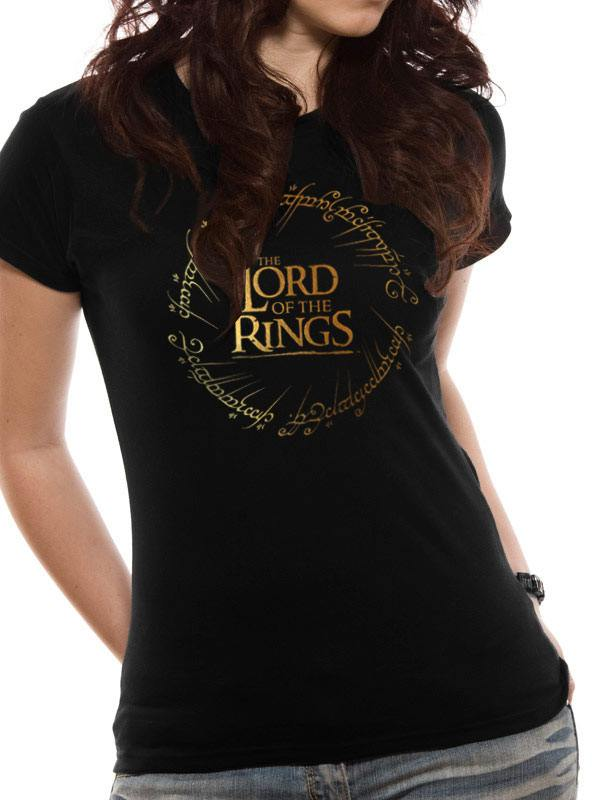 Lord of the Rings Ladies T-Shirt Gold Logo Size M