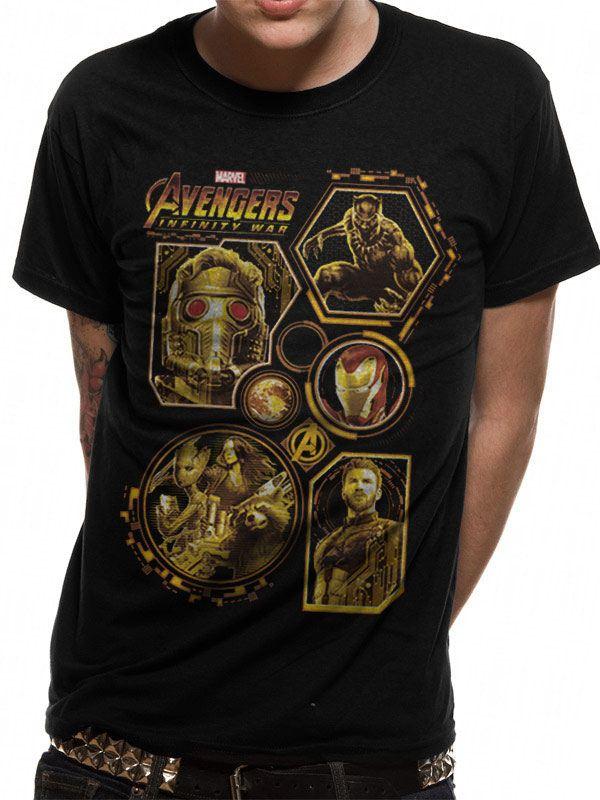 Avengers Infinity War T-Shirt Block Characters Size L