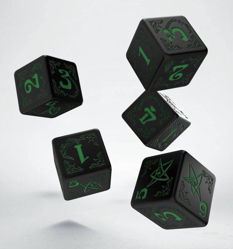 Arkham Horror Dice Set 5D6 black & green (5)