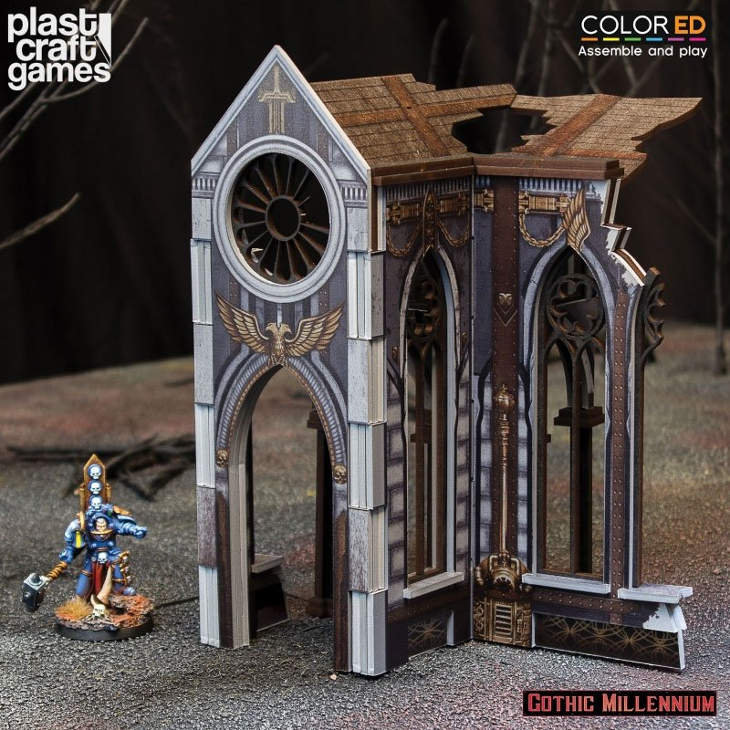 Gothic Millennium ColorED Miniature Gaming Model Kit 28 mm Cathedralis Side Porch