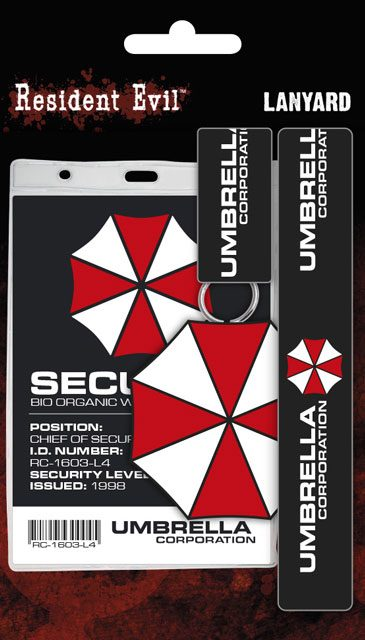 Resident Evil Lanyard with Rubber Keychain Umbrella