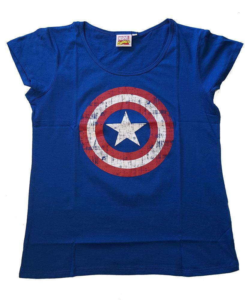 Captain America Ladies T-Shirt Logo cobalt Size L