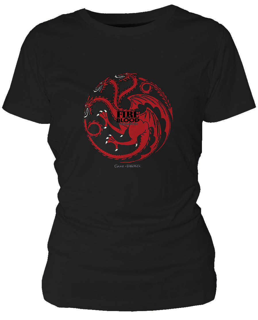 Game Of Thrones Ladies T-Shirt Targaryen Fire And Blood Size S