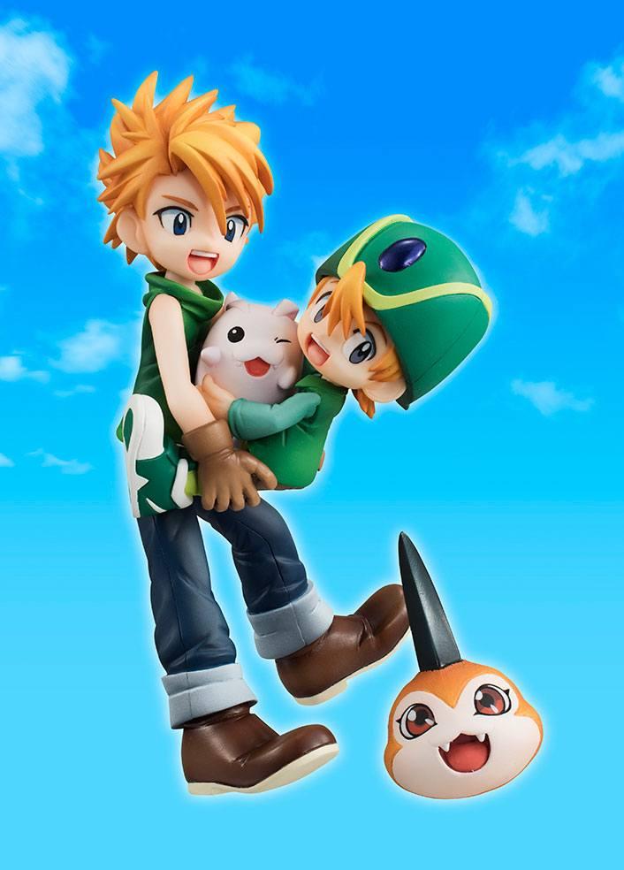 Digimon Adventure G.E.M. Series Statue Ishida Yamato & Takaishi Takeru, Tsunomon & Tochomon 15 cm