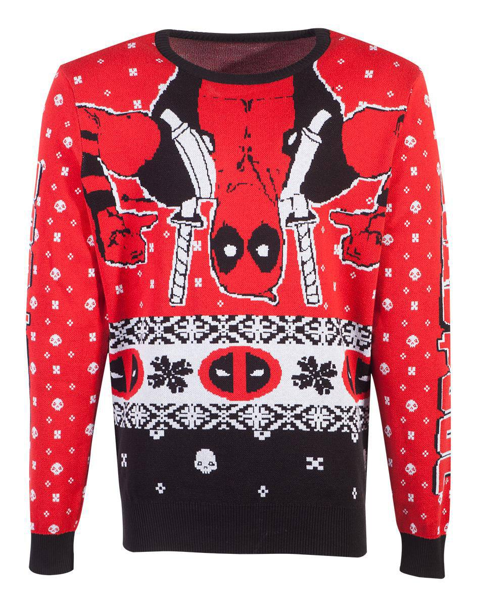 Marvel Knitted Christmas Sweater Deadpool Upside Down Size XL