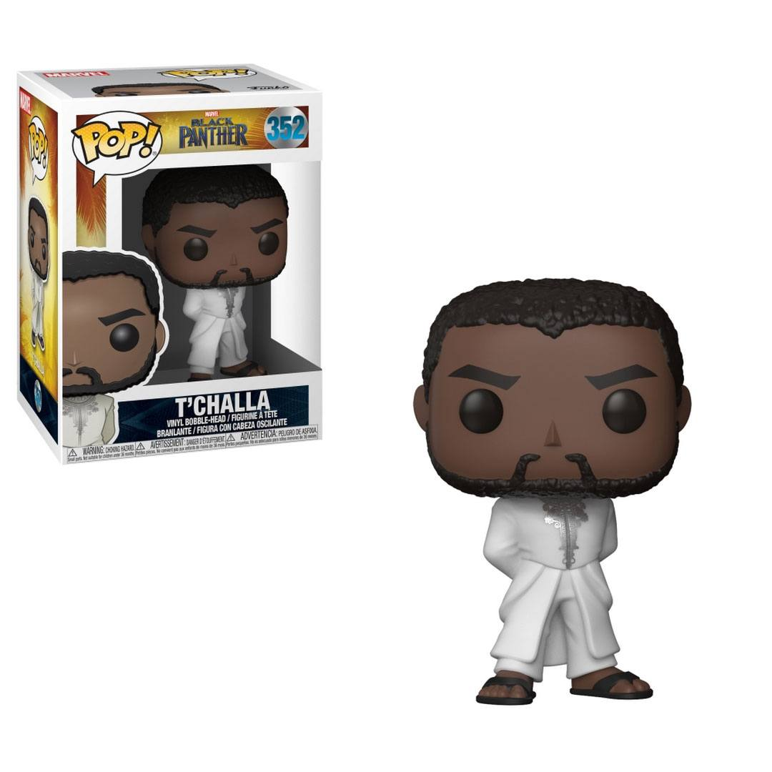 Black Panther POP! Vinyl Bobble-Head Black Panther T'Challa Robe (White) 9 cm