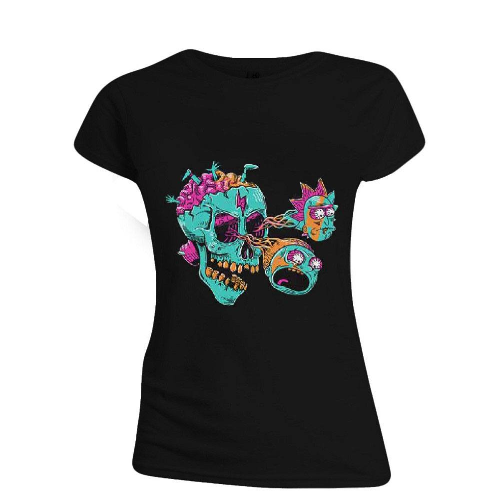 Rick & Morty Ladies T-Shirt Eyeball Skull Size M