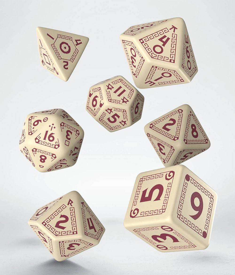 RuneQuest Dice Set beige & burgundy (7)