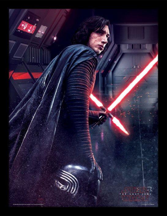 Star Wars Episode VIII Framed Poster Kylo Ren Rage 45 x 33 cm