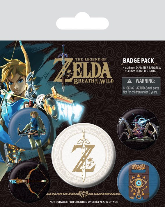 The Legend of Zelda Breath of the Wild Pin Badges 5-Pack Z Emblem