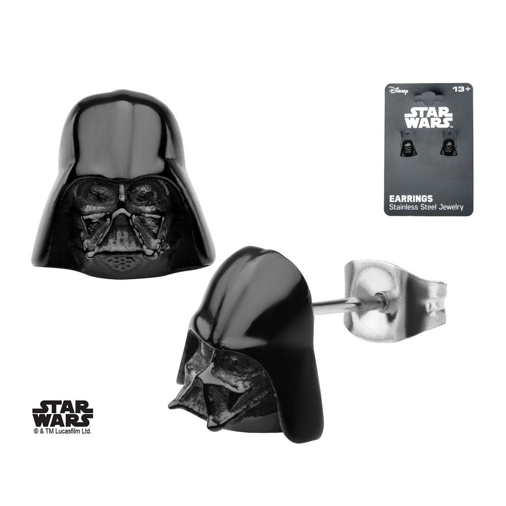 Star Wars Earrings Black PVD Plated 3D Darth Vader