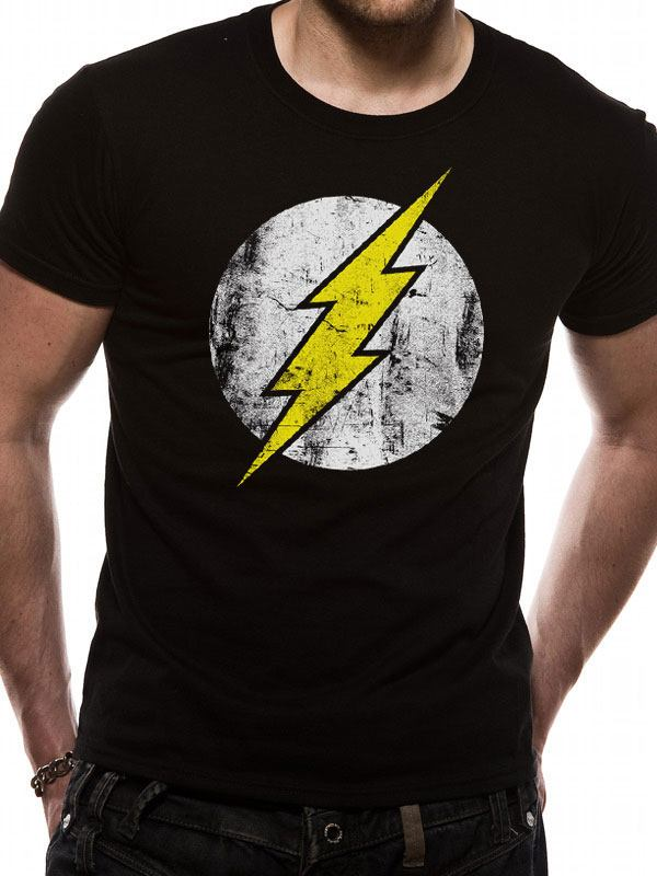 The Flash T-Shirt Distressed Logo Size XL