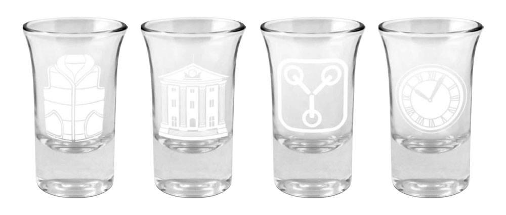 Back to the Future Shotglass 4-Pack Logo & Symbols