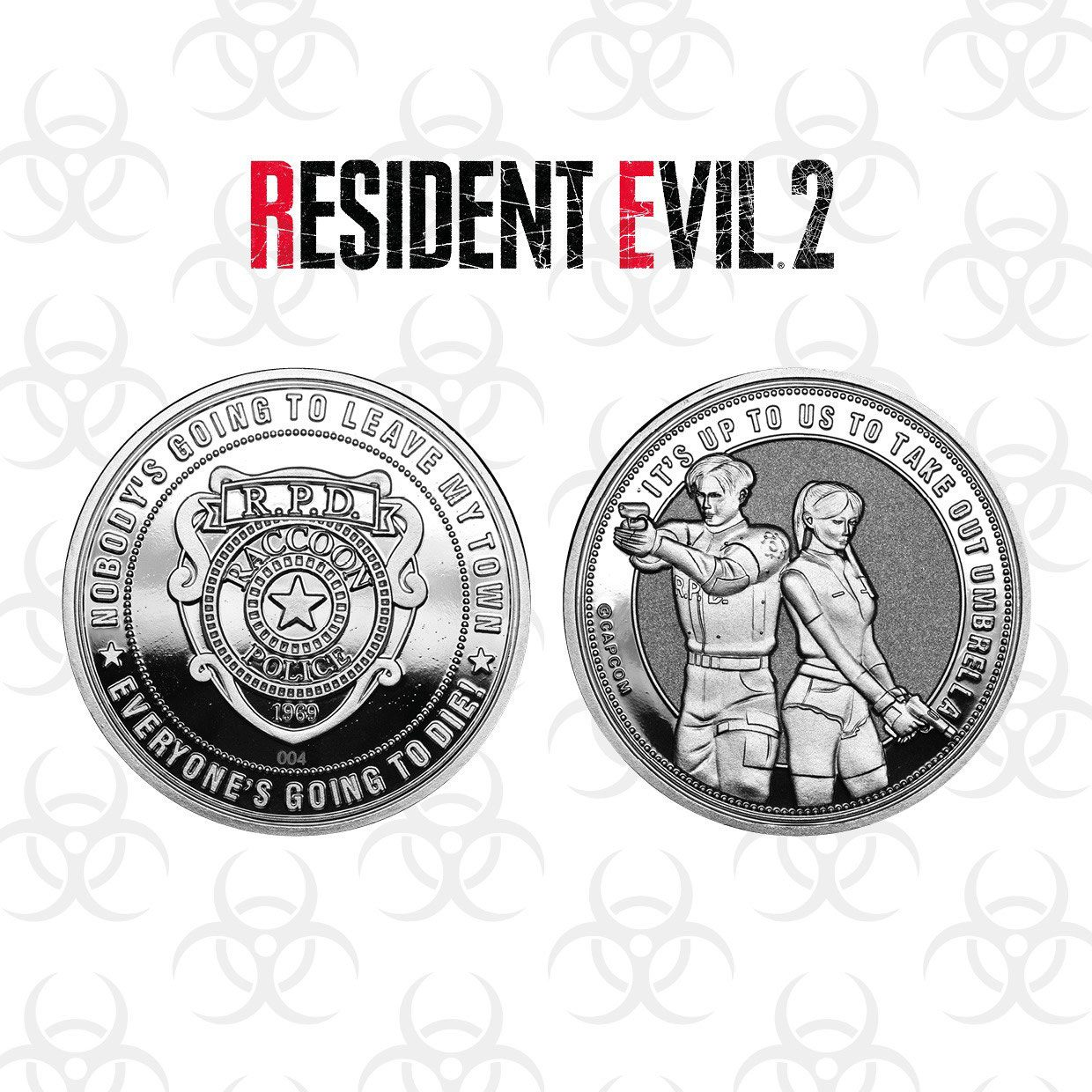 Resident Evil 2 Collectable Coin Raccoon Police Silver Edition