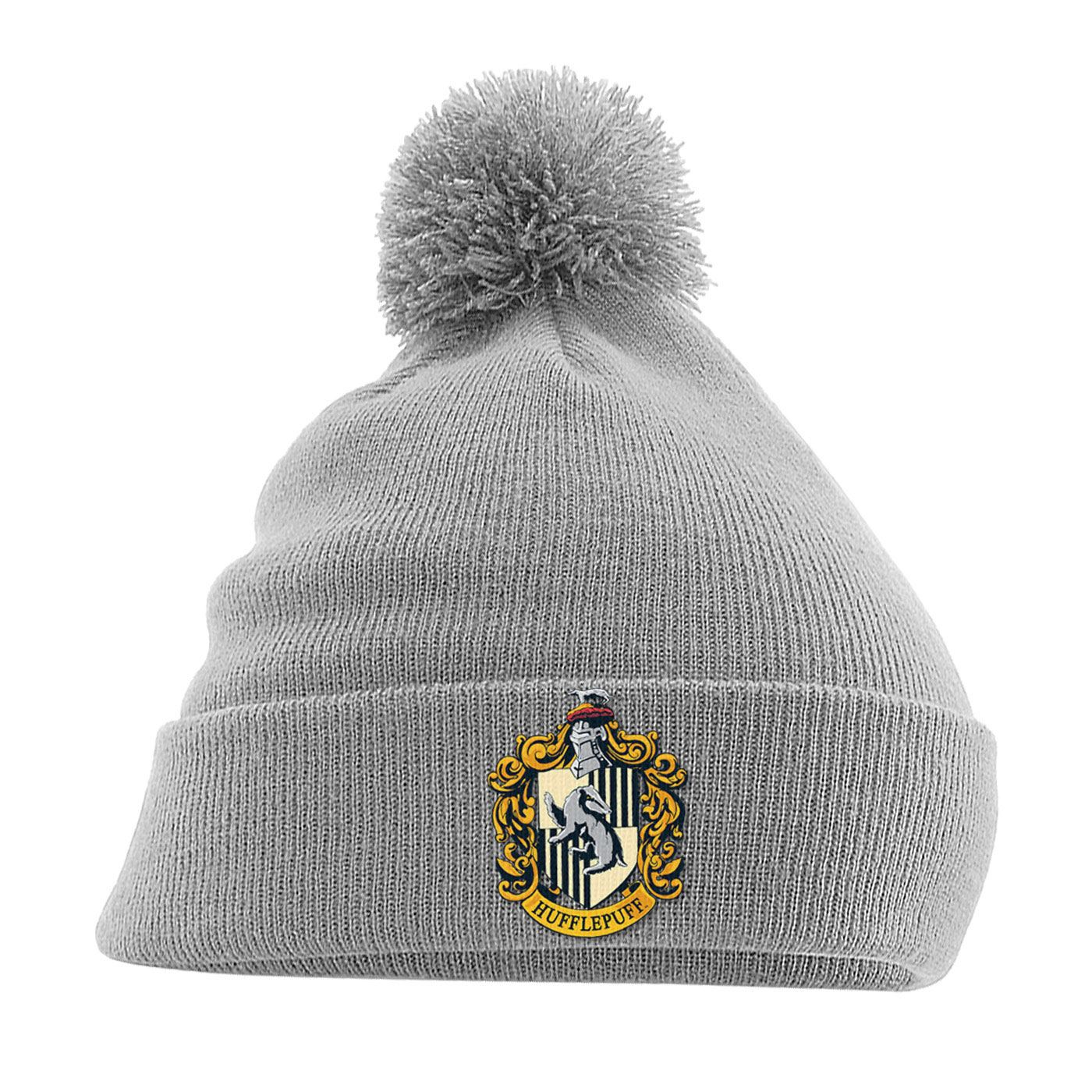 Harry Potter Pom Pom Beanie Hufflepuff Crest Grey