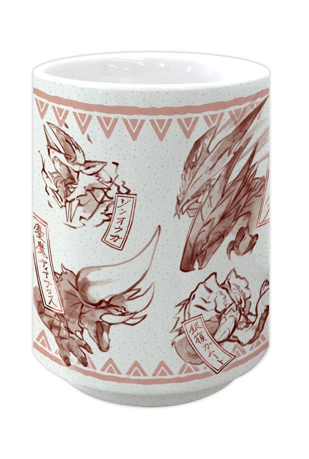 Monster Hunter Double Cross Japanese Tea Cup Yunomi Japanese Pattern Red
