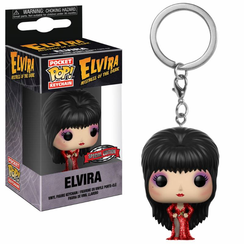 Elvira Mistress of the Dark Pocket POP! Vinyl Keychain Elvira Red Dress Hot Topic Exclusive 4 cm