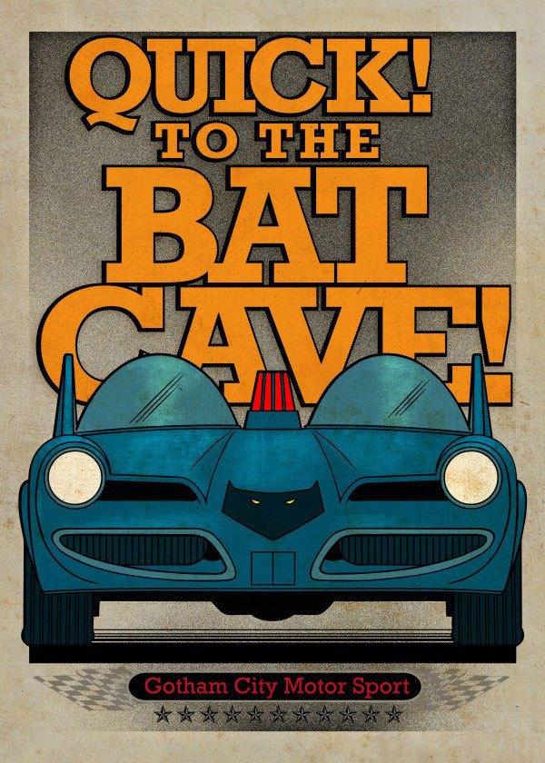 DC Comics Metal Poster Gotham City Motor Club Batmobile 1966 10 x 14 cm