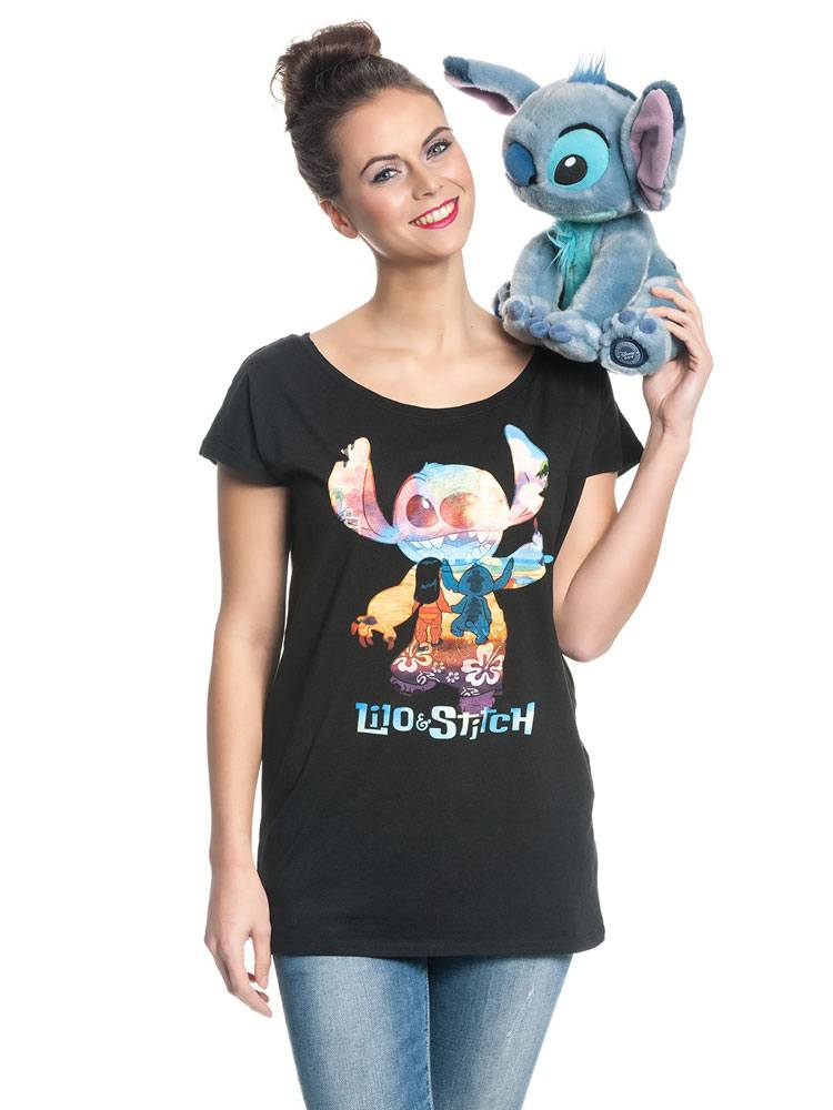 Lilo & Stitch Ladies T-Shirt On The Beach Size S