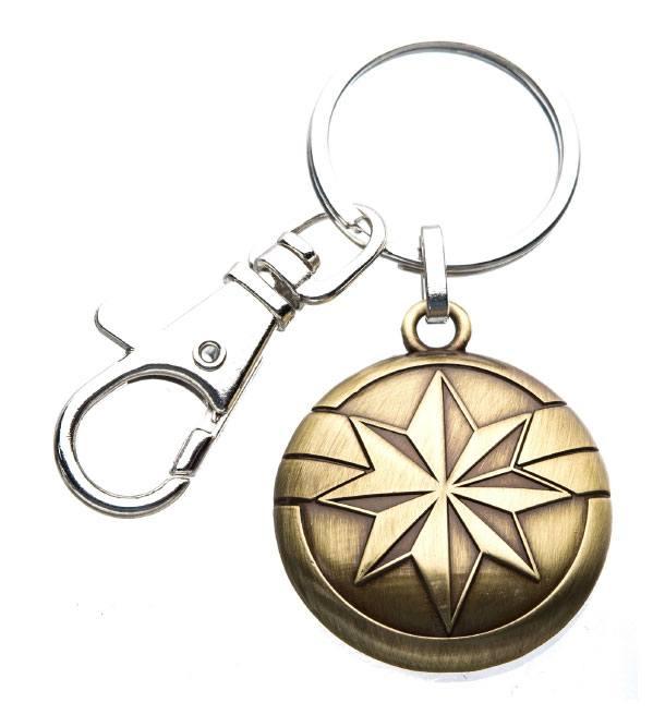 Captain Marvel Metal Keychain Gold Logo