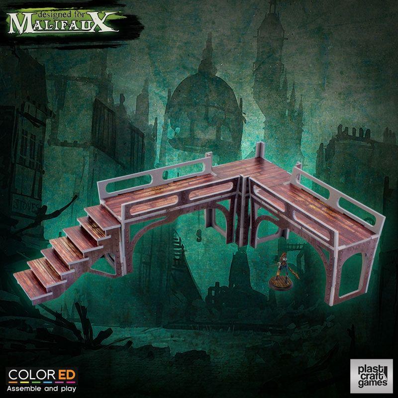 Malifaux ColorED Miniature Gaming Model Kit 32 mm Downtown Walkway Set