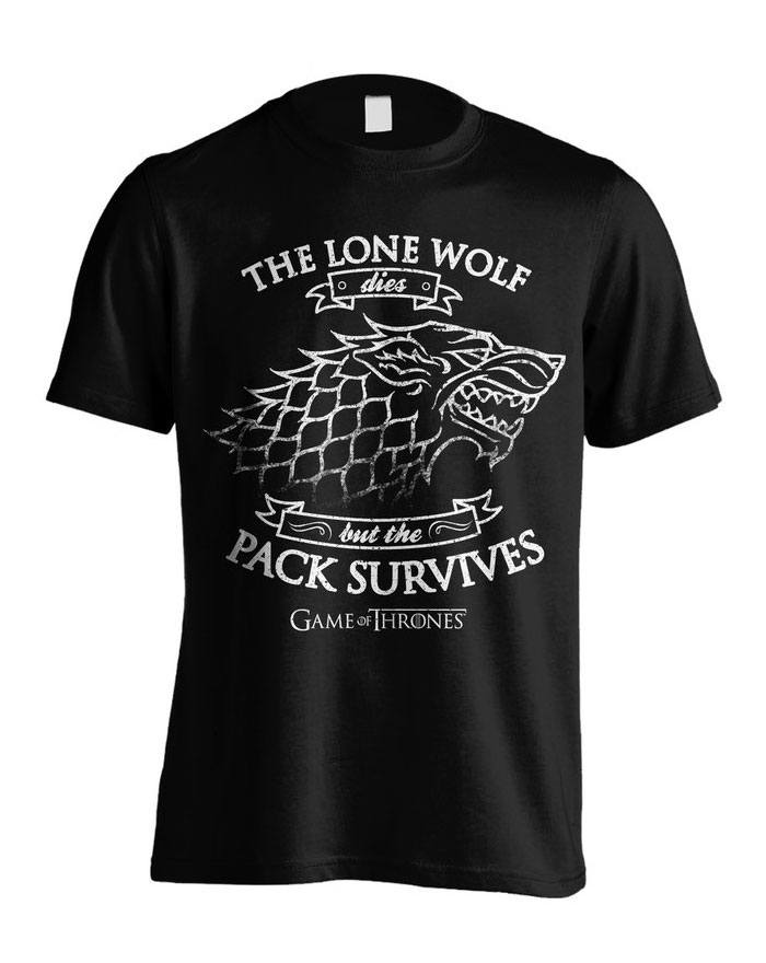 Game Of Thrones T-Shirt Lone Wolf Size S