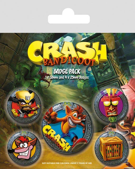 Crash Bandicoot Pin Badges 5-Pack Pop Out