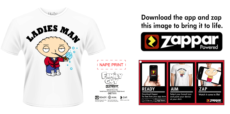 Family Guy T-Shirt Ladies Man Size L