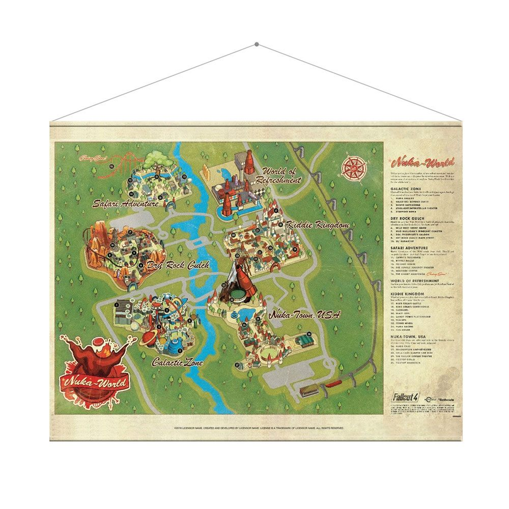 Fallout Wallscroll Nuka World Map 100 x 77 cm
