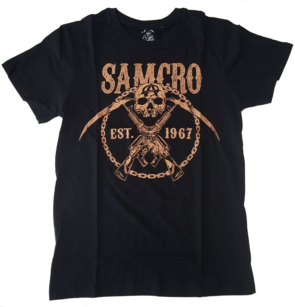 Sons Of Anarchy T-Shirt SAMCRO Chained Brown Size XL