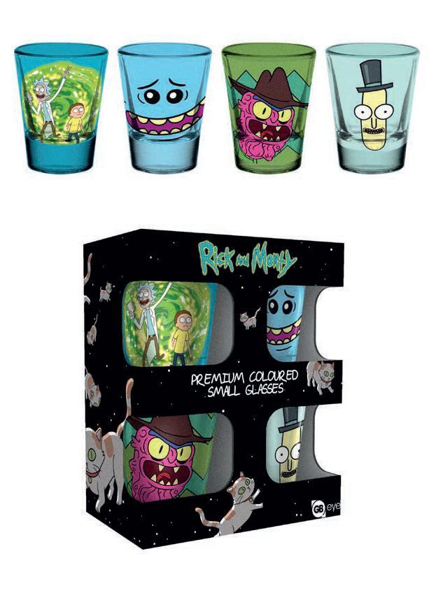 Rick and Morty Premium Shotglass 4-Pack Mix