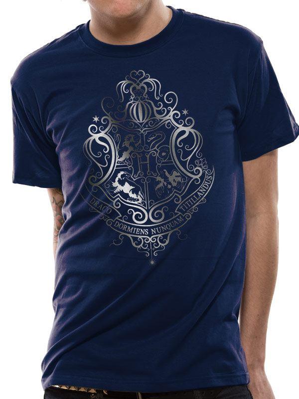 Harry Potter T-Shirt Silver Foil Crest Size L