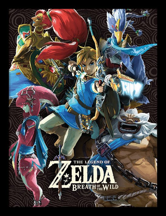 Legend of Zelda Breath of the Wild Framed Poster Divine Beasts Collage 45 x 33 cm