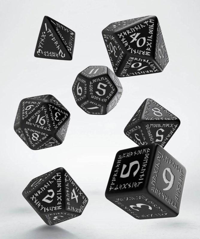 Runic Dice Set D2 black & white + D4 white & black (2)