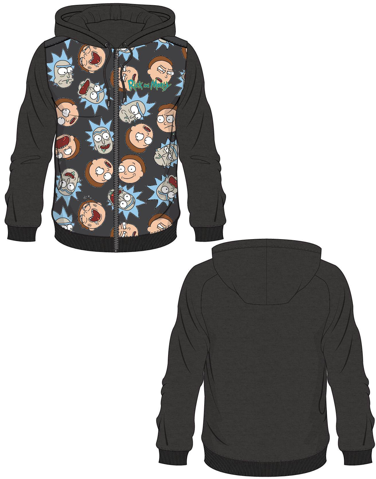 Rick and Morty Hooded Sweater Rick & Morty Pattern Size L