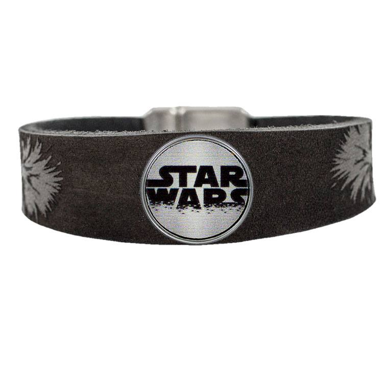 Star Wars Clicks Leather Bracelet Chewbacca / Logo Click Grey Size M