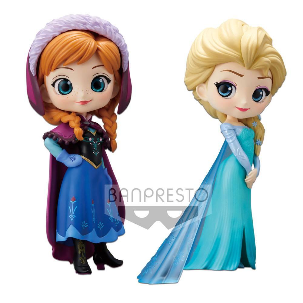 Disney Q Posket Mini Figures 2-Pack Anna & Elsa 14 cm