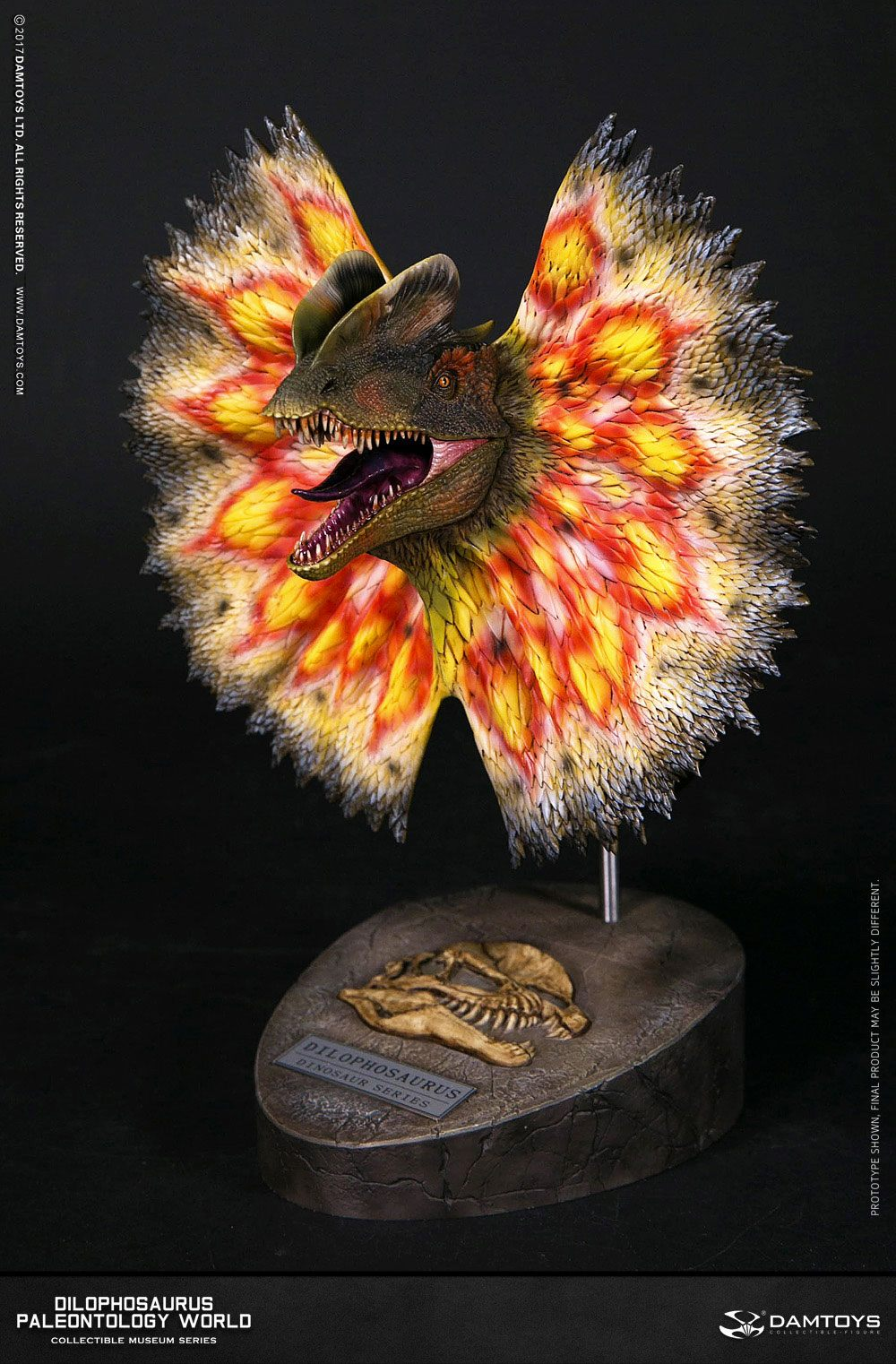 Paleontology World Museum Collection Series Bust Dilophosaurus Yellow Ver. with Neck-Frill 28 cm
